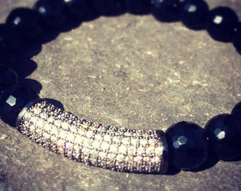 Black Faceted Onyx with C-Z