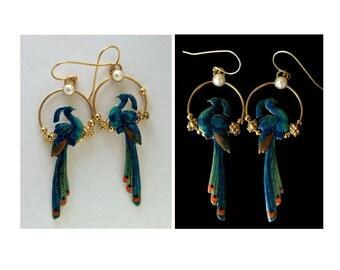 Earrings with Pearls, Vitreous enamel, silver, gilding #72951