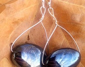 "2"" Wire Wrap Silver Dangle Earrings with Shiny Black Accents - ChrisGSwankyDesigns"