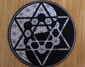 "Sacred Geometry - Flower of Life - Yin Yang - Metratron - Merkaba - Mandala -  2"" Round Sticker"