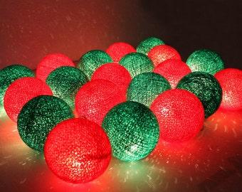 X'mas String Lights - Red & Green Cotton Ball
