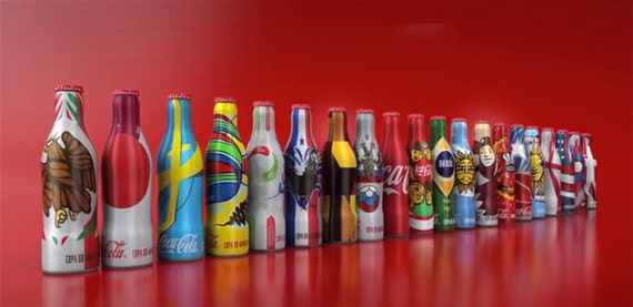 Miniature Coca-Cola bottles Aluminum Brazil FIFA 2014 World Cup Complete Set
