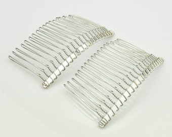 Silver Comb.10pcs 20 teeth Silver Plated Metal Hair Combs,Hair Comb Supplies 75x38mm.