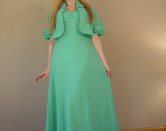 1960s Vintage MINT green flowy maxi dress with matching caplet shrug jacket 2 piece set