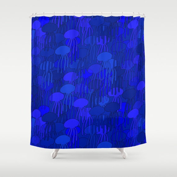 Items similar to blue jellyfish shower curtain unique - Cobalt blue bathroom accessories ...