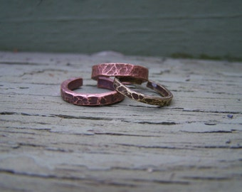 Hammered Copper and Brass Adjustable Stacking Rings
