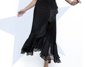 Double Ruffle wrap Jersey Skirt #317