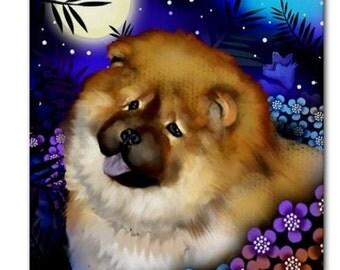 CHOW CHOW DOG Moon Garden Art Ceramic Tile Coaster