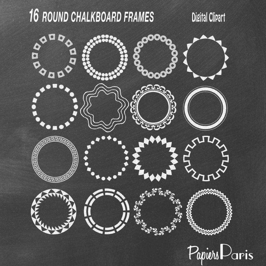 White Frame Png 16 White Round Chalkboard Frames Digital Clipart Png Images Eps Included