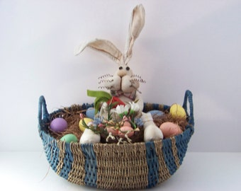 Easter bunny rabbit with eggs basket decoration