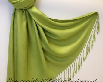 LIME GREEN PASHMINA - lime green shawl - bridal scarf - bridal shawl - bridesmaid gift - wedding gift - scarf - shawl - gift -