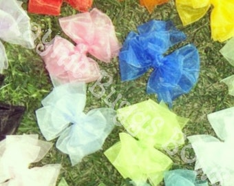 4 inch Stacked sheer hair bows set of 5