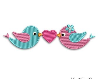 Love birds embroidery design cute two birds with hearh full embroidery pattern - 007
