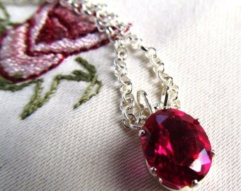 Pendant 8x10mm Lab Grown Ruby in Sterling Silver with Sterling Silver Rolo Link Chain