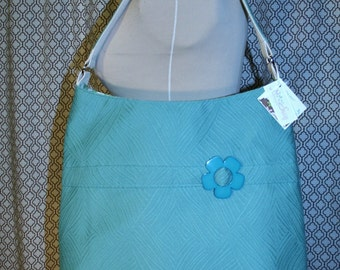 Blue Green Textured Fabric Tote Bag, Commuter Bag, Fabric Work Tote Bag - Chelsea Bag