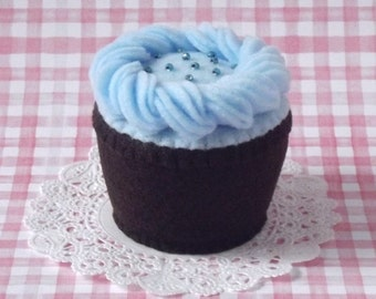 Blueberry Frosted Dark Chocolate Plush Cupcake - Plush Cupcake Pincushion - Felt Cupcake Play Food - Felt Food Dessert