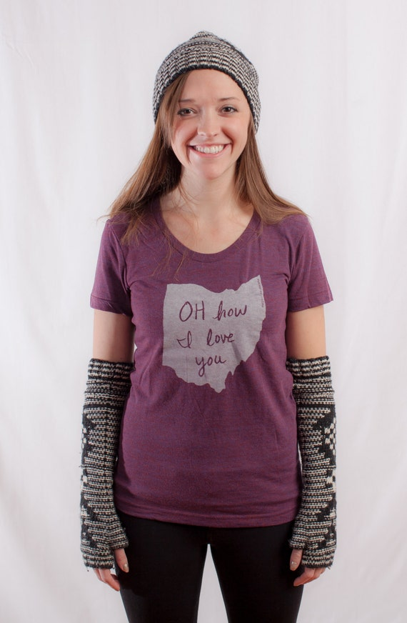 Women's OH How I Love You (Ohio) Tshirt in Cranberry - FREE SHIPPING