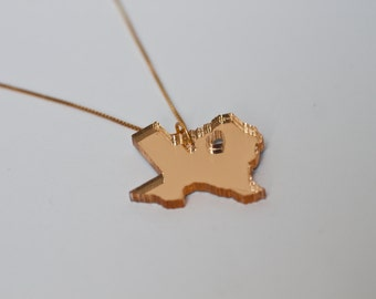 Gold Texas Necklace - Mirrored Acrylic - Texas State Necklace TX State Shaped Necklace State Outline TX State Charm Layering
