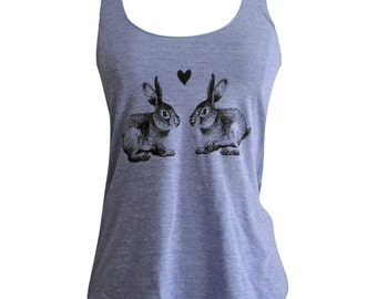 Bunny Rabbit Tank Top -  Rabbits in Love American Apparel Tri-Blend Tank - Available in sizes S, M, L