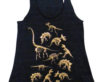 Dinosaur Tank Top - Fossils Dino Skeletons Print on a Soft Vintage feel Tri-Blend Tank - (Available in sizes S, M, L, XL)