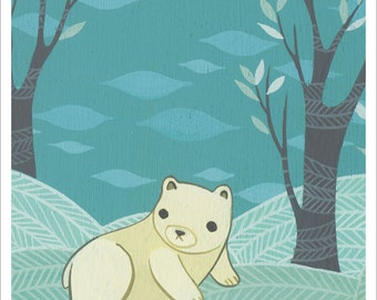 SALE: POLAR BEAR art print by Susie Ghahremani, white bear artwork forest animal art print