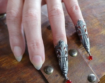 SALE Nail Rings Vampire Princess Fierce Filigree Armor Claw Set