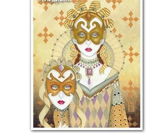 Signed 8 x 10 Print Gemini Art Nouveau Surreal Mask Masquerade Art B. K . Lusk