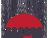 Cat Art Print Giclee Rain Kitty Cat Lover Art Rainy Day Cat and Umbrella Illustration Art Print