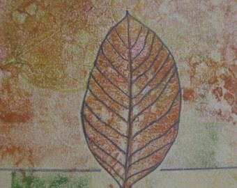 Nature Artwork/Calming Artwork/Meditation Print/Leaf Monoprint/Original Artwork/Real Leaves/Fall Artwork/Woodland/leaves/Small Artwork