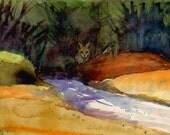 Red Fox Woodland Animal Forest River Original Watercolor Belinda DelPesco