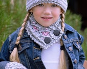 Graystone Kids Crochet Cable Set Hat Neck Warmer And Fingerless Mittens Kids 3-10 Pattern