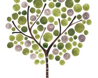 Burlap Roses Art Print Watercolour Painting Artwork Tree Art Neutral Art Reproduction