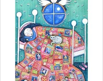"Girls room art angel patchwork quilt cat A3 print sleeping girl nursery wall decor whimsical folk art childrens picture - ""Heirloom"""