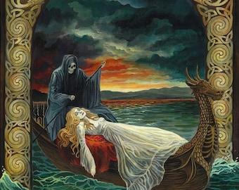 Death Tarot Goddess Art Original Celtic Acrylic Painting Surreal Psycedelic Tarot Art
