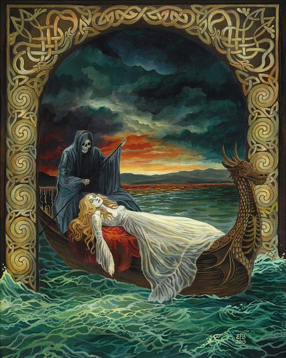Celtic Tarot Product Summary: Death Tarot Goddess Art Original Celtic Acrylic Painting