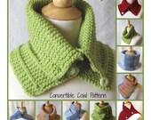 Knit Cowl Scarf PATTERN - Convertible Capelet Plus 2 Tutorials