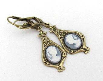 Art Nouveau Cameo Earrings, Wedgewood Blue Cameo Dangle Drop Earrings, Antiqued Brass Victorian Design, Bridal Wedding Office, Art Deco