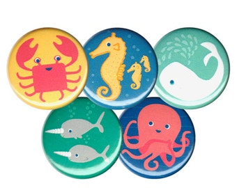 Ocean Friends Pin Set of 5 One Inch Pinback Buttons