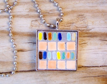 Mosaic Square Art Pendant with Chain