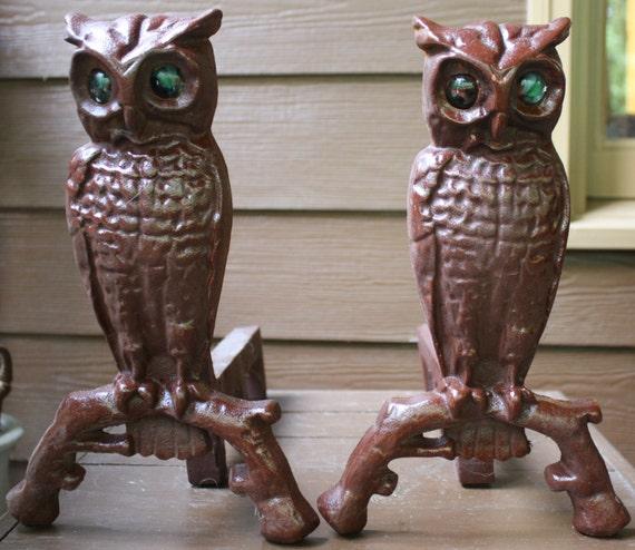 Vintage Cast Iron Owl Andirons Fireplace Decorations