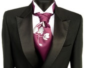 Poppy cravat tie. Self tie mens formal ascot. Elegant floral screenprint. Your choice colors.