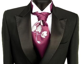 Poppy cravat tie. Self tie mens formal ascot. Elegant floral screenprint. Your choice colors.