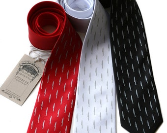 Sharp Dressed tie. Kitchen knives silkscreened necktie. Your choice of color & standard, narrow or skinny width.