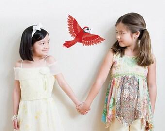 Cute Red Bird Vinyl Wall Decal
