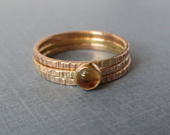 Tiny Stacking Rings - NOW in Gold-Fill and 14k - Shown with Citrine Stone - Your choice of stone