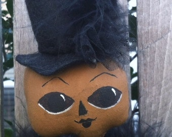 Halloween Pumpkin Doll Primitive Folk Art Halloween