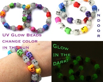 Glow in the DARK & Glow in the DAY. Skulls glow at night, UV beads glow outside Plus Colorful Rainbow beads in-between Halloween Party Favor