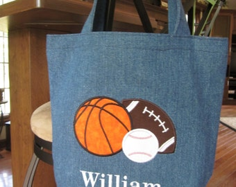 TOTE BAG Sports Personalized Toddler or Big Kid Tote
