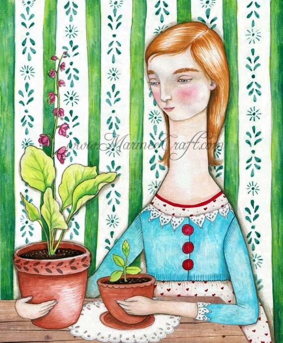 """Garden girl art print, """"Margo's Green Thumb"""""""