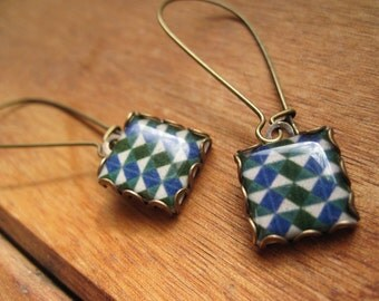 Geometric jewelry, Islamic tile drop earrings, islamic jewelry, dangle earrings, Tribal Earrings, Muslim jewelry, Middle East, green, blue